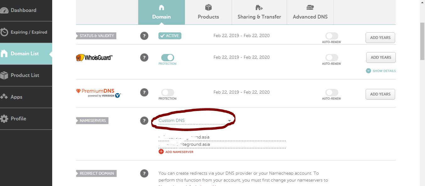Re-direct Nameserver fromNameCheap to Siteground