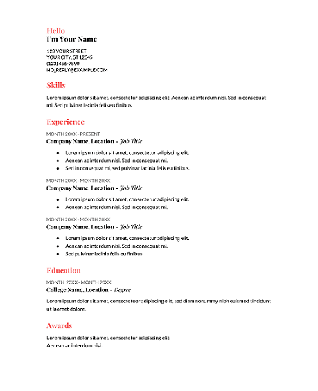 Coral-Google-Docs-Resume-Template