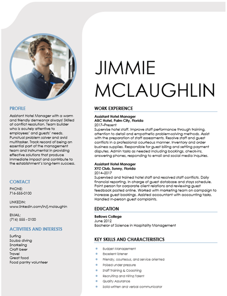 hospitality management resume template