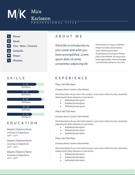 modern initials resume template