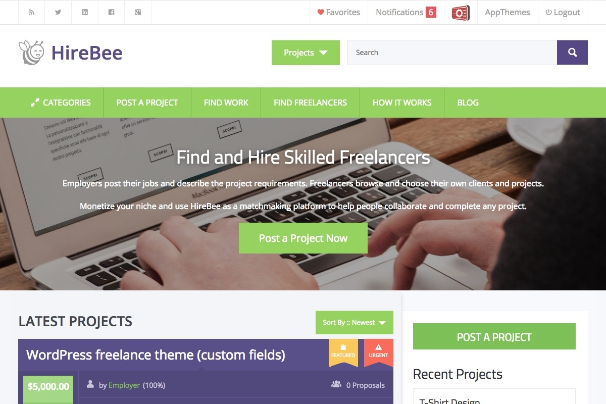HireBee - Freelance WP Premium Theme by AppThemes 1